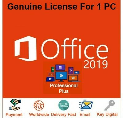 Microsoft Office 2019 Professional Plus LifeTime Licence Instant Delivery Genuin