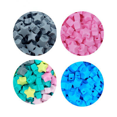 DIY 10PCS Silicone Beads Star-shaped Jewelry Food Grade Teether Accessory FA
