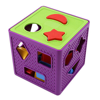 Cube Block Intelligence Shape Learning Sorter Box Baby Kid Educational Toy FA
