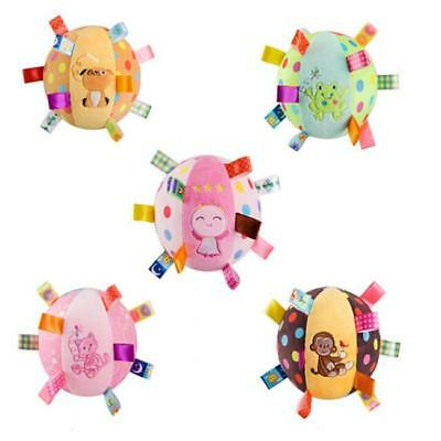 Baby Toddler Kids Colorful Soft Plush Rattle Ball Hand Grasp Bell Toy FA