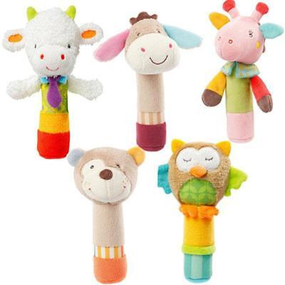 Rattle Animal Stick Soft Hand Bell Baby Hand Grip Rod Toys Educational Doll FA