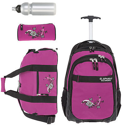 Schultrolley 4T Set Trolley Elephant Hero Signature 12680 Butterfly Blk Pink f