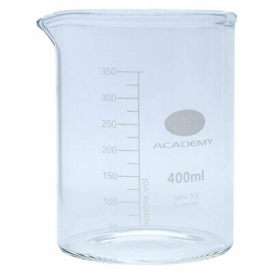 Academy Low Form Glass Beaker Heavy Wall 400ml Pack of 12