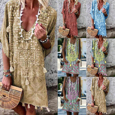 Boho Women V Neck Floral Mini Tunic Dress Ladies Summer Casual Loose Smock Dress