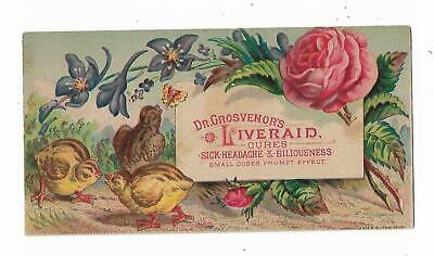 Quack Medicine Trade Card Dr Grosvenor's Liveraid Cure Headache Malaria CHICKS