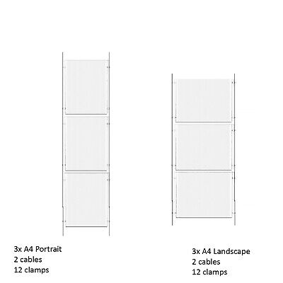 1x3 A4 Poster Cable Display Kit Estate Agent Window Wire Fixed Poster Holders