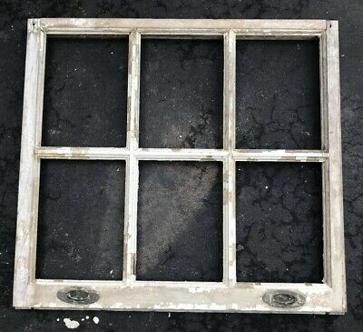 "VINTAGE SASH ANTIQUE WOOD WINDOW No Glass FRAME WEDDING DISTRESSED 27""-29"""