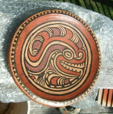 PreColumbian Polychrome Plate Alligator motif Parita culture 800 AD