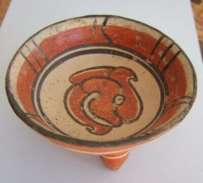 PreColumbian Chortega Tripod bowl center Jaguar head Glyph circa 800 AD