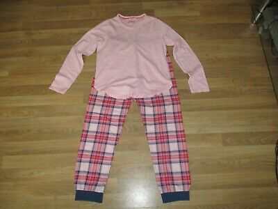 M&S girls pink checked pyjamas age 11-12 years