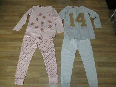 next girls 2 pack pink pair & grey pair pyjamas age 12 years