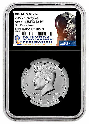 2019 S Enhanced Rev PF Kennedy Half Dollar NGC PF70 FDI Blk Astronaut SKU57488