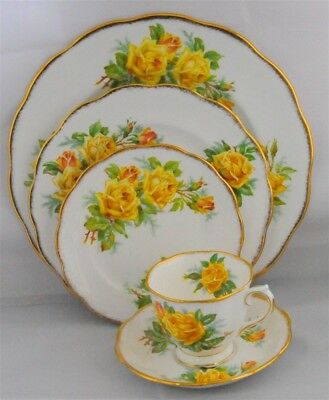 1-Royal Albert Yellow Tea Rose 5 Piece Place Setting England (3 Available)