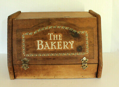 Large Vtg Bread Box Wood Rustic Country Kitchen Wooden Farmhouse MCM The Bakery