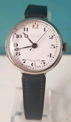 Vintage Art Deco Longines Silver Wristwatch London 1932 Trench Watch Working