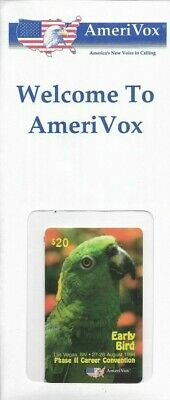 1990's AmeriVox Green Parrot Collectible Prepaid Phone Card