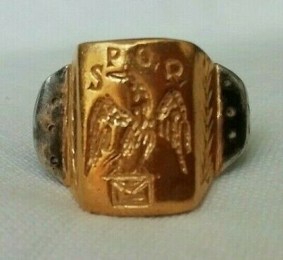 Ancient Roman Silver Legionary Ring Eagle Spqr Inlaid 24K Thick Gold Plate