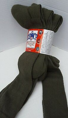 DSCP Armed Forces Socks 3 Pair Army Green Odor Blister Resistant New Long USA XL