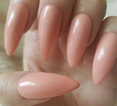 Hand Painted Nude False Nails. 20 Long Stiletto Press-on Nails. Glossy.