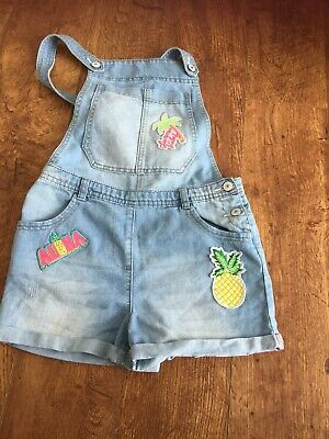 Girls Short Denim Dungarees With Fruit Logos Age 11 Excellent Condition