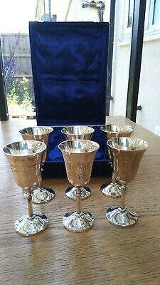 "Set Of 6 VINTAGE SILVER PLATED GOBLETS WEDDING WINE GLASSES - 5"" Cased"