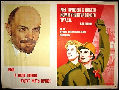 Lenin Authentic Poster USSR Political Communist Soviet Russia Worker Propaganda
