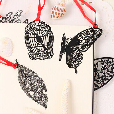 5Pcs Black Butterfly Chinese Vintage Feather Stationery Metal Bookmark Clip Page