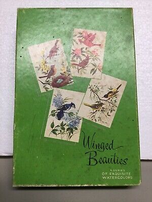 LOT OF 8 ASSORTED BIRDS VINTAGE GREETING CARDS ENVELOPES and BOX UNUSED