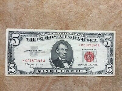 1963 $5 United States STAR Note Red Seal Nice Circulated Old Paper Money *STAR*