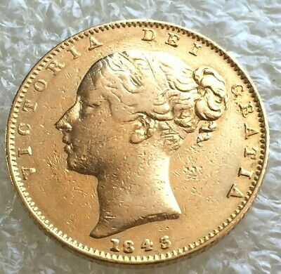 1843  wide date  victoria shield full sovereign  #2985