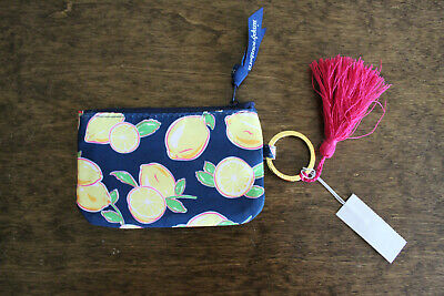 NEW Simply Southern Key Ring Id Holder Coin Navy Blue w/ Lemons New with Tags