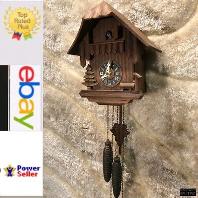 Vintage Germany Black Forest Striking Cuckoo Clock W Two Weight And Pendulum