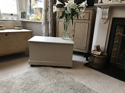 Old Antique Chest, Blanket Box, Vintage Wooden Storage Trunk Painted In F and B
