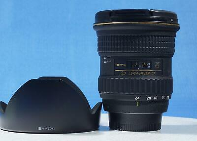 Tokina ATX 12-24mm f/4.0 Pro Nikon DX  hood lens caps boxed FINE condition