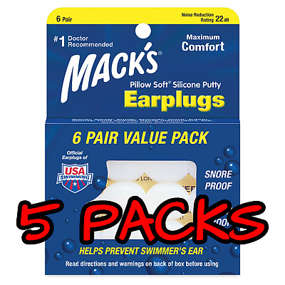 5 Packs Of Mack's Pillow Soft Silicone Earplugs, 6 Pair Each