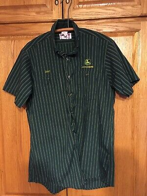 John Deere Uniform Button Down Shirt Large Made In The USA