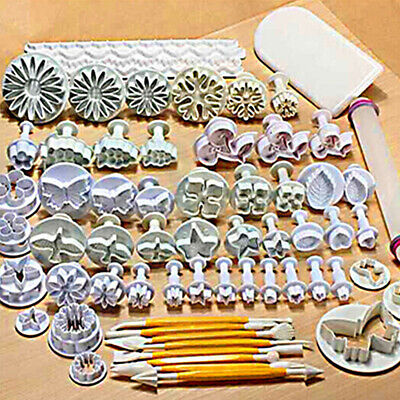 68x Cake Fondant Decorating Sugarcraft Icing Plunger Cutters Tools Mold Mould UK