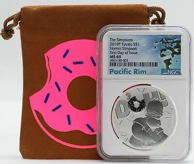 2019 Homer Simpson 1 oz Silver NGC MS69 Tuvalu The Simpsons 9999 Ag Coin JC449
