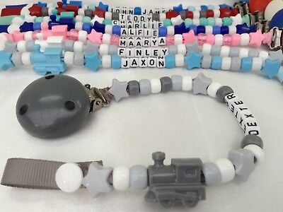 🚂PERSONALISED DUMMY CLIP 🚂 Name Up to 12 Letters 🚂TRAIN🚂 Choice 8 Colours 🚂
