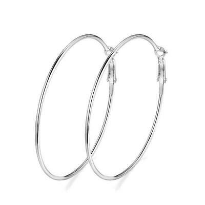 Women Silver Large Big Round Circle Dangle Hoop Earrings 90MM Gift #9 FH8748