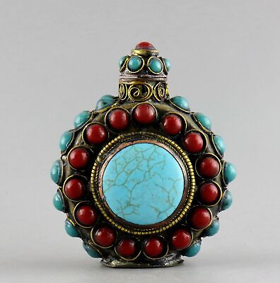 Collect Antique Bronze Inlay Turquoise Hand Carve Delicate Noble Snuff Bottle