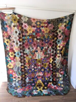 Antique 1930's double patchwork quilt Eiderdown