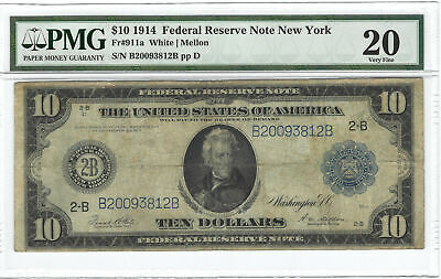 $10 1914 Federal Reserve Note New York Fr#911a PMG VF20
