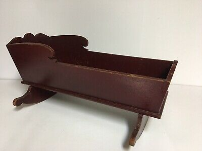 Antique Vintage Primitive Handcrafted Americana Wooden Rocking Doll Cradle