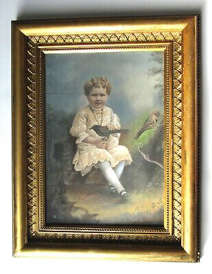 "Antique Victorian Edwardian ""Little Girl &Birds"" Pastel Portrait Painting Gothic"