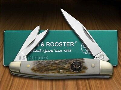 HEN & ROOSTER AND Genuine Deer Stag Whittler 203S-DS Stainless Pocket Knife