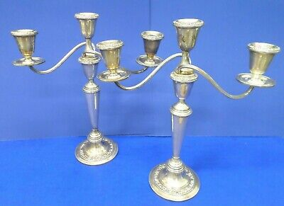 Antique Newport STERLING SILVER CANDELABRA CANDLE PAIR SET Weighted 1610 grams