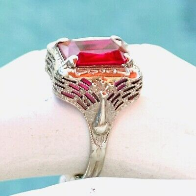 14 Karat White Gold Ring Ruby Art Deco 1920S Size 5 Synthetic