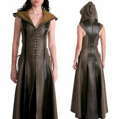 Women PU Leather Medieval Ranger Dress Adult Cosplay Fancy Hooded Coats Costume