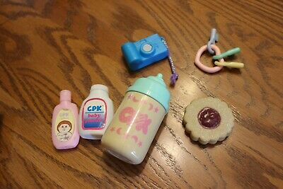 Vtg? rare Cabbage Patch Kids doll Accessories bottle lotion camera cookie lot